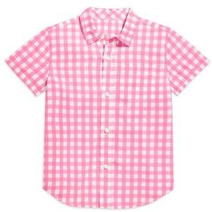 Primary pink gingham short sleeve button down